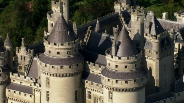aerial zo chateau de pierrefonds and surrounding town/ pierrefonds, france - circa 12th century stock videos & royalty-free footage