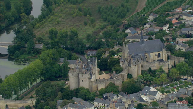 aerial, chateau de saumur, maine-et-loire, france - circa 12th century stock videos & royalty-free footage