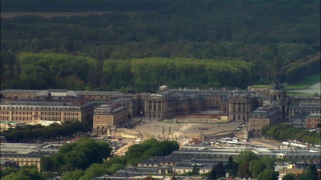 aerial chateau de versaiiles/ versailles, france - chateau de versailles stock videos and b-roll footage
