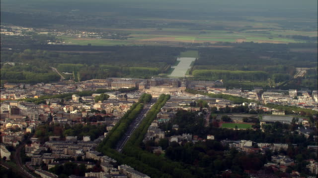 aerial chateau de versailles and grounds/ versailles, france - chateau de versailles stock videos and b-roll footage