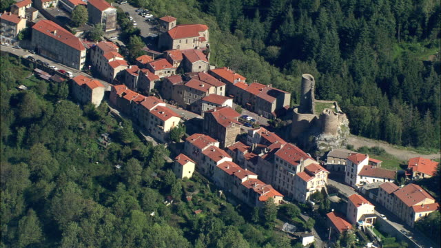 ZO, AERIAL, Chateau des Bruneau and village, Rhone-Alpes, France