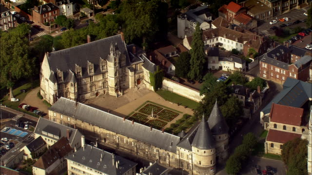 AERIAL chateau in back of Beauvais Cathedral/ pan buttresses on cathedral/ Beauvais, France