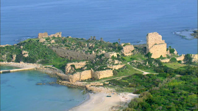 aerial chateau pelerin citadel / atlit, israel, - the crusades stock videos & royalty-free footage
