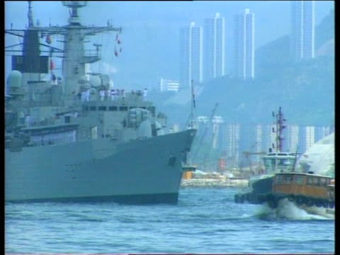 chatham arrives ahead of handover of colony to china hong kong hms chatham arrives ahead of handover of colony to china hong sequence british warship... - nave da guerra video stock e b–roll