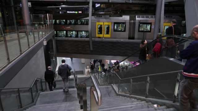 chatswood train station in syndey australia on friday june 22 2018 - steps and staircases stock videos & royalty-free footage