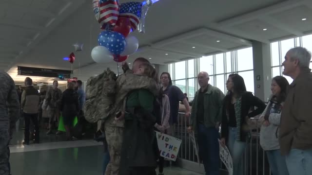 chattanooga airmen return home to tennessee after a seven month deployment in iraq - welcome sign stock videos & royalty-free footage