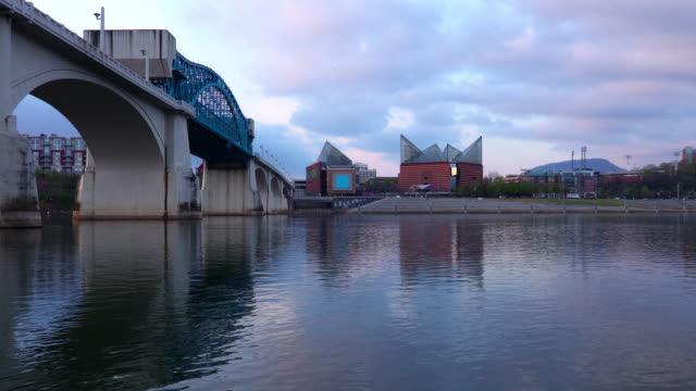 chattanooga skyline along the tennessee river - chattanooga stock videos and b-roll footage