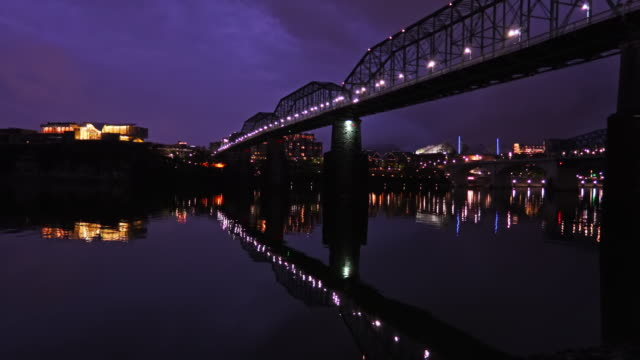 chattanooga skyline along the tennessee river - tennessee stock videos & royalty-free footage