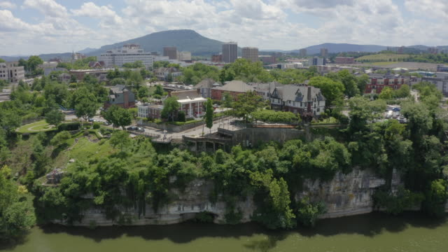 chattanooga, tennessee aerial drone footage of downtown - chattanooga stock videos and b-roll footage
