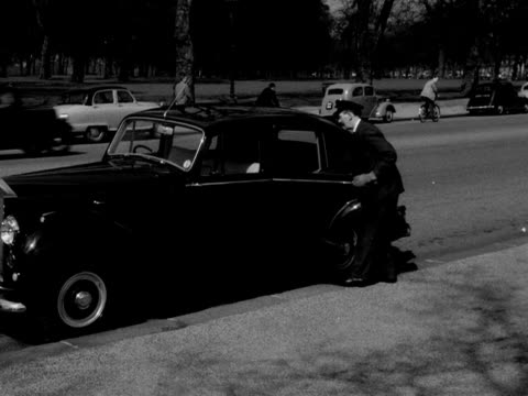 chauffeur takes two black poodles out from the back seats of a rolls royce and takes them for a walk in hyde park; 1953. - rassehund stock-videos und b-roll-filmmaterial