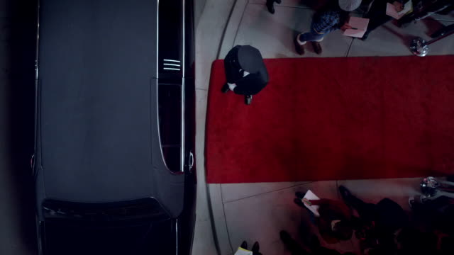 Chauffeur waits by limousine door at red carpet premiere at awards show