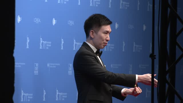 """chayampon taeratanatchai, who takes the price for director le bao, winner """"encounters"""" special jury award for their movie """"vi"""" poses with their... - celeb stock videos & royalty-free footage"""