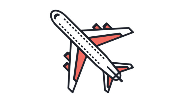 アルファ付き格安航空チケット フラット ライン アイコン アニメーション - 飛行機の搭乗券点の映像素材/bロール