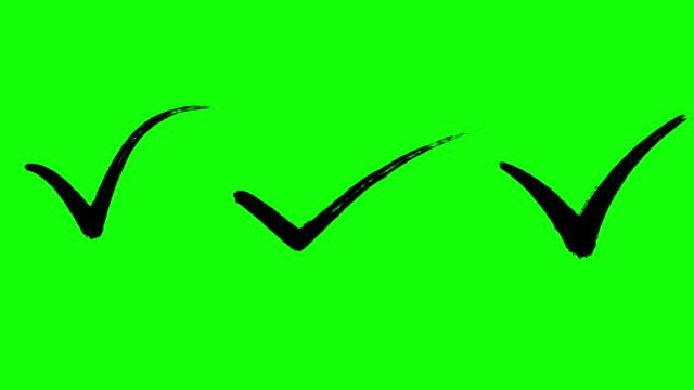 häkchen, genehmigungszeichen, schreibeffekt, pinseleffekt, grüner bildschirm, animiert, schwarze farbe - post stock-videos und b-roll-filmmaterial