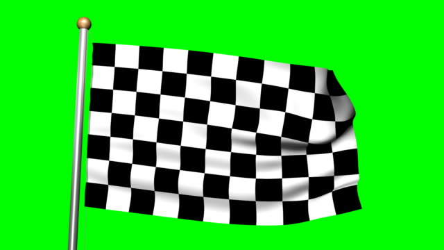 3D Checkered flag animation on the green screen HD