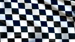 Checkered flag flying in the wind, in the sport to the finish.  Cyclic animation.