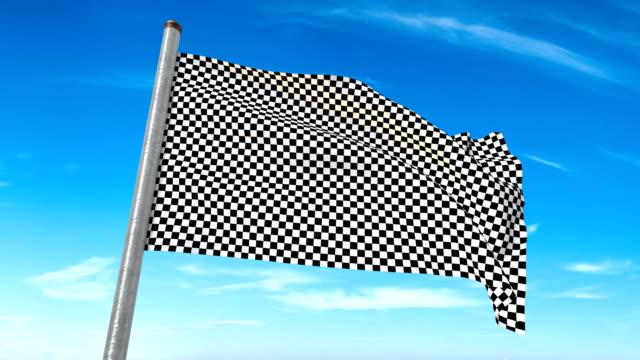 checkered flag weaving. luma matte provided so you can put your own background. - circuito di daytona video stock e b–roll