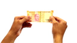 Checking 200 Rupee Note Stock Footage Video