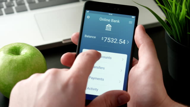 Checking bank accounts using banking app