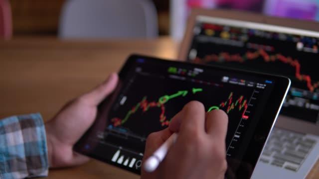 デジタル タブレットの株式市場のデータをチェック - ナスダック点の映像素材/bロール