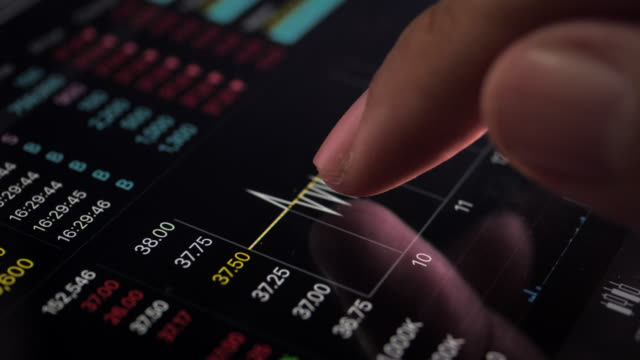 checking stock market index on digital tablet, close up - online banking video stock e b–roll