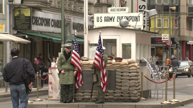 checkpoint charlie, berlin - mp stock videos & royalty-free footage