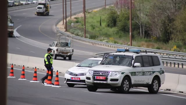 checkpoint has set up on tel aviv-jerusalem road due to coronavirus measures by israeli police on april 7, 2020. israeli police have controlled... - israel stock videos & royalty-free footage