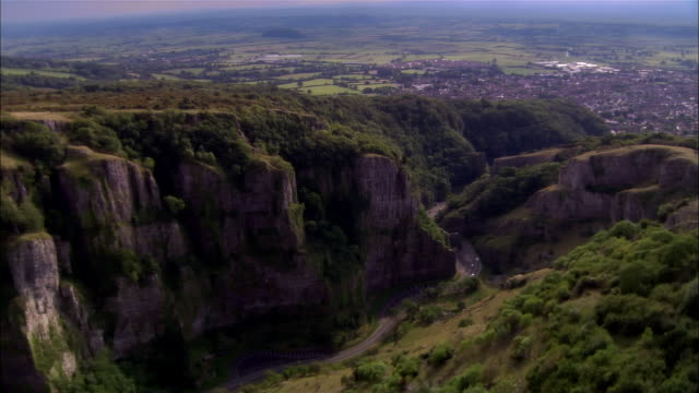 aerial, cheddar gorge, cheddar, somerset, england - somerset stock videos & royalty-free footage