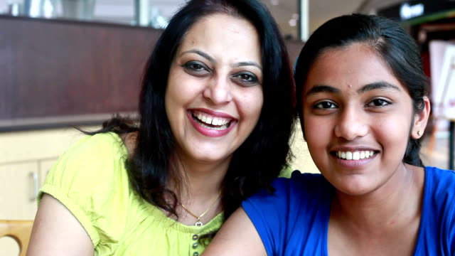 Cheerful Asian Indian Mother and Daughter