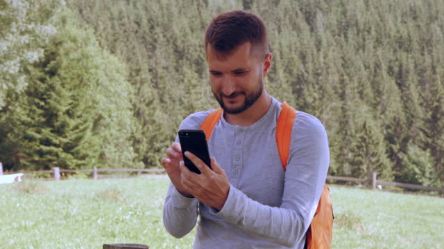 Cheerful bearded man making selfie in front of mountainous landscape