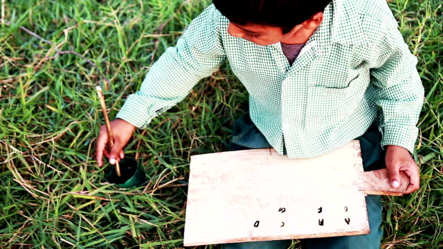 cheerful boy sitting in the field and studying outdoor portrait - pen and ink stock videos & royalty-free footage