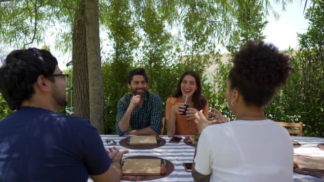 cheerful couples enjoying lunch together at a back yard - yerba mate stock videos & royalty-free footage