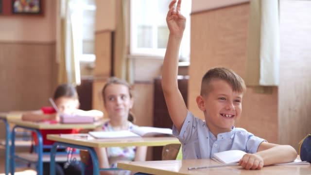 vídeos y material grabado en eventos de stock de alegre estudiante de primaria respondiendo a una pregunta con la mano levantada en clase - preguntar