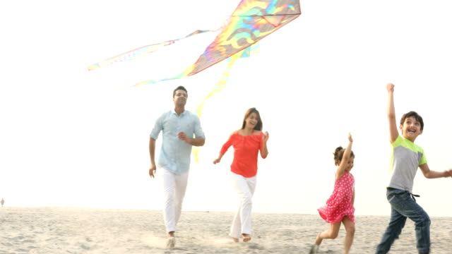 ws cheerful family flying kites on beach / india - kid with kite stock videos & royalty-free footage