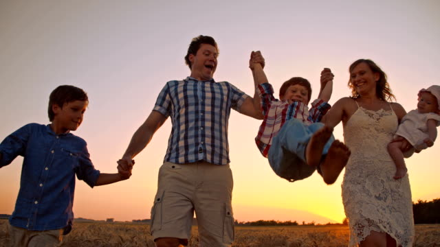 slo mo cheerful family relaxing in wheat field at sunset - family with three children stock videos & royalty-free footage
