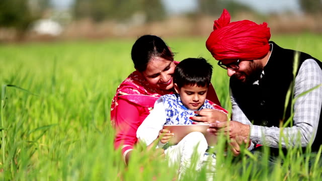 cheerful family using i pad in the green field - poor family stock videos & royalty-free footage