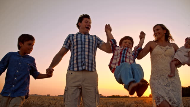 slo mo cheerful family walking in wheat field at sunset - family with three children stock videos & royalty-free footage