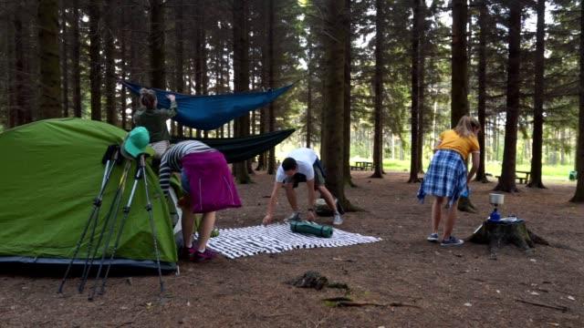 vídeos y material grabado en eventos de stock de amigos alegres disfrutando de acampar en el bosque - área silvestre