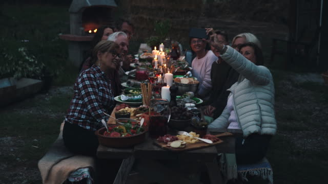 cheerful friends taking group selfie through smart phone during harvest dinner party at backyard - foodie stock videos & royalty-free footage