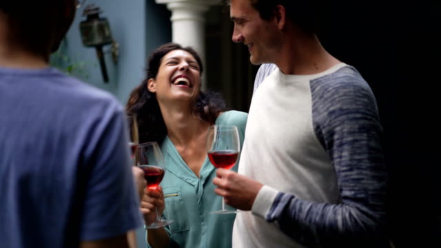Cheerful friends toasting red wineglasses at yard