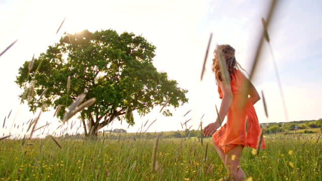 vidéos et rushes de slo missouri joyeuse fille courir pieds nus dans l'herbe - seulement des enfants