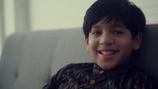 cheerful indian boy , portrait - indian ethnicity stock videos & royalty-free footage