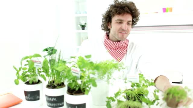 HD: Cheerful Man Planting Herbs At Home.