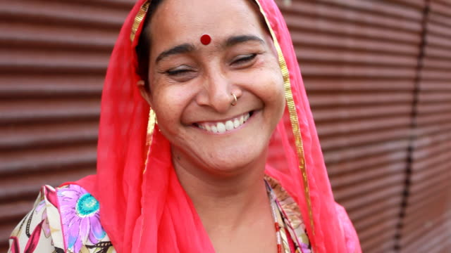 Cheerful Rural traditional Indian woman