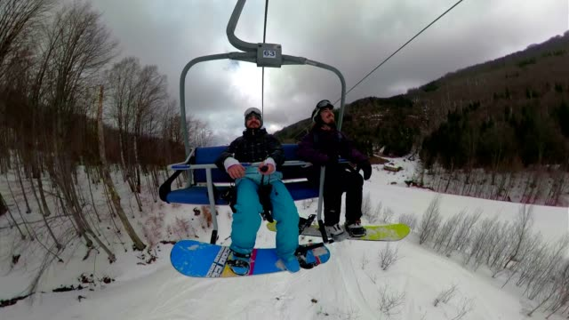 cheerful snowboarders riding a cable car - overhead cable car stock videos & royalty-free footage