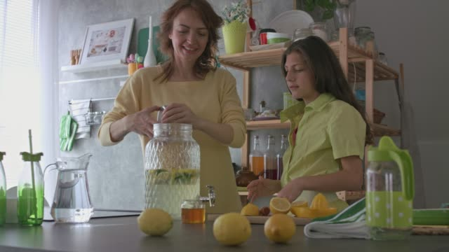 cheerful teenage girl having fun and enjoying while making lemonade with her mother - traditional lemonade stock videos & royalty-free footage