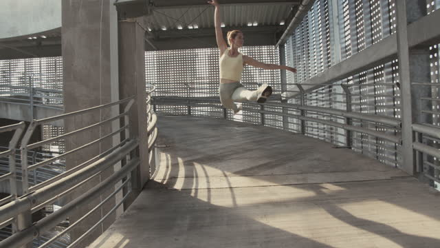 cheerful woman rehearsing ballet - shaky stock videos & royalty-free footage