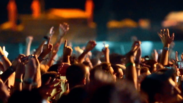 Cheering crowd at a concert slow motion.