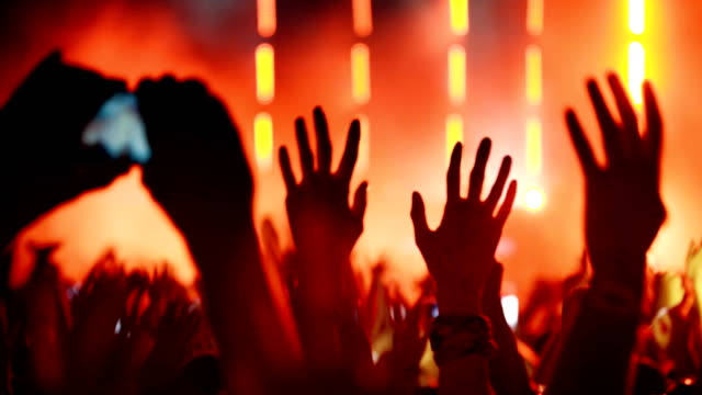 cheering crowd at a concert. - entertainment club stock videos & royalty-free footage