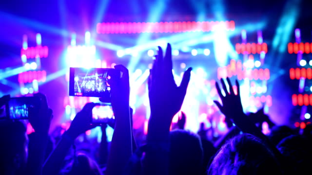 cheering crowd at a concert. - unrecognizable person stock videos & royalty-free footage
